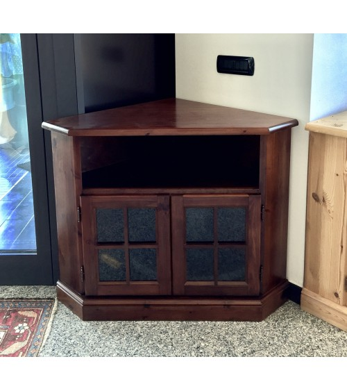 Porta TV ad angolo in pino massello verniciato tinta noce