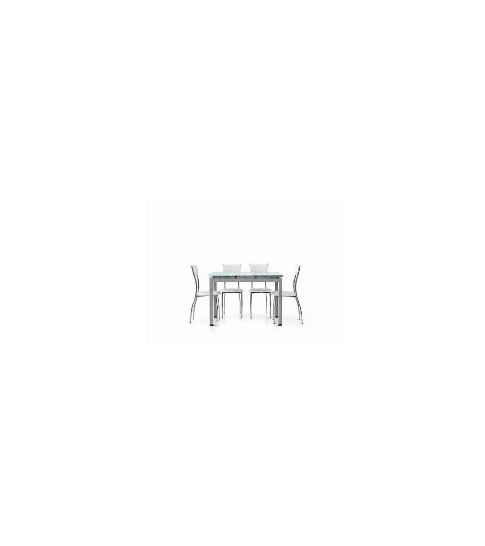 Tavolo allungabile con struttura in metallo grigio e piano in vetro bianco 110x70