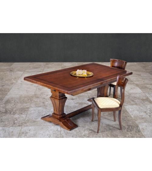Tavolo classico con greca intarsiata e quattro allunghe - BA17 - 1 - Tavoli
