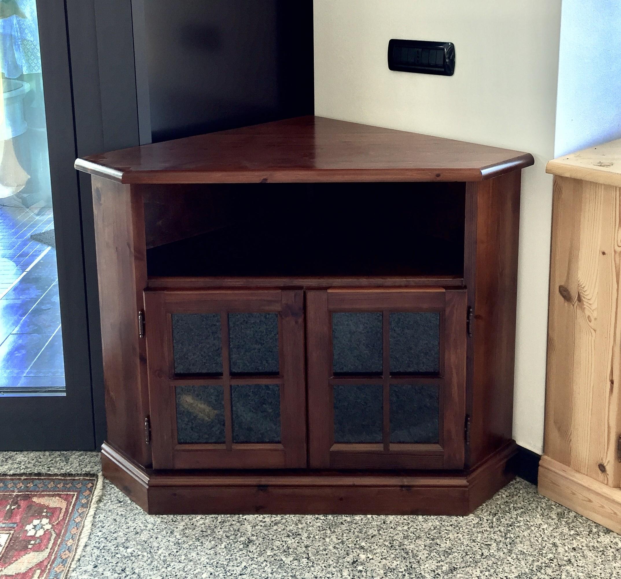 Porta TV ad angolo in legno pino massello verniciato tinta noce