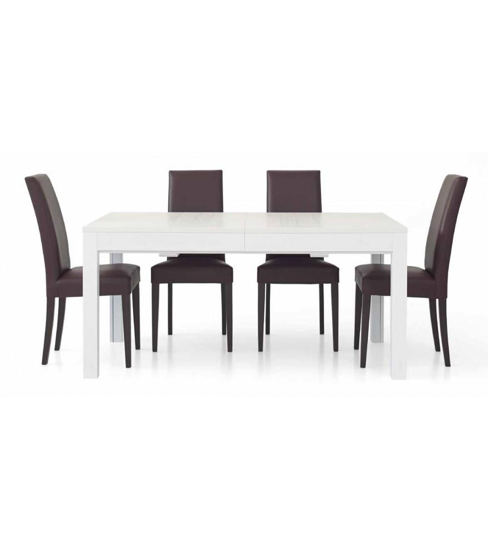 Tavolo rettangolare allungabile bianco frassinato L. 160 P. 90 + 4 allunghe 43 - T552 - 1 - Tavoli