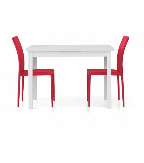 Tavolo bianco frassinato 110x70 + 2 allunghe 40
