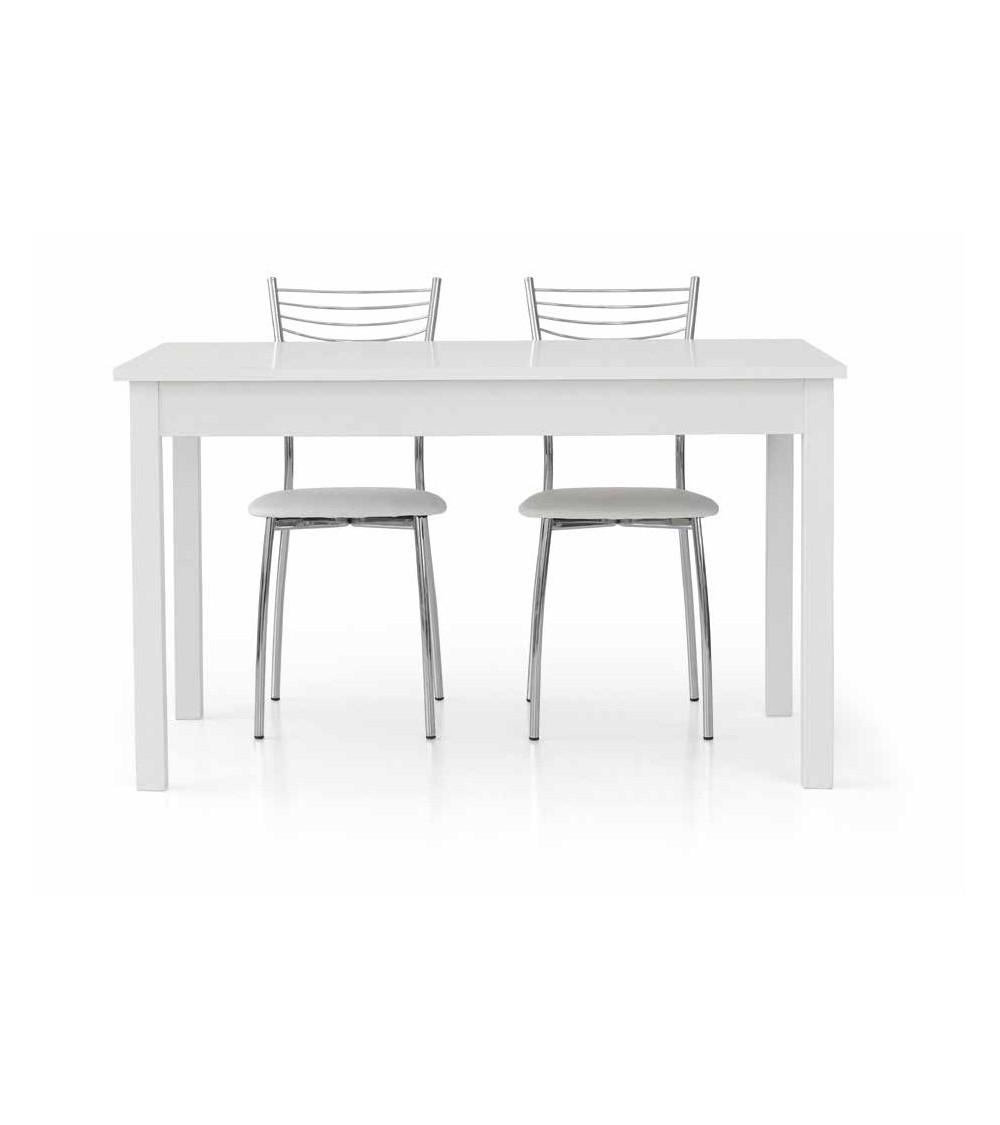 Tavolo bianco frassinato 140x90 + 1 allunghe 60 - T609 - 1 - Tavoli