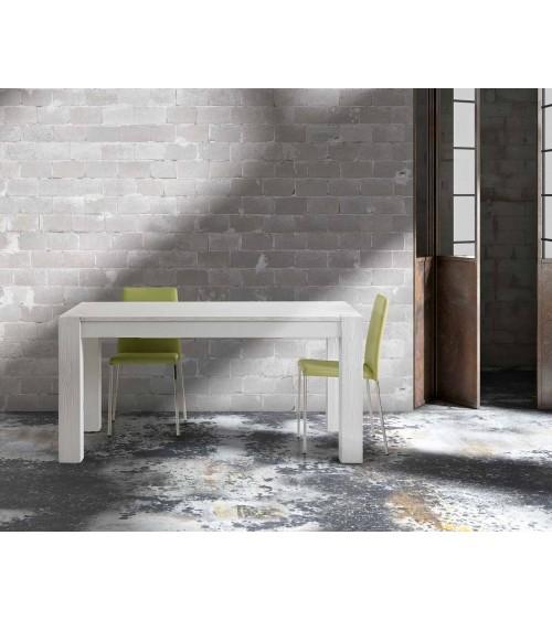 Tavolo abete bianco spazzolato 160x90 2 allunghe 50