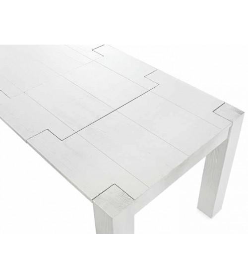 Tavolo abete bianco spazzolato 160x90 2 allunghe 50 - T643 - 2 - Tavoli