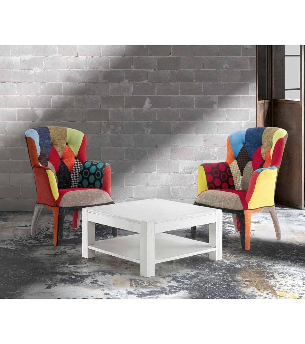 Tavolino abete bianco spazzolato 80x80 - T652 - 1 - Tavoli