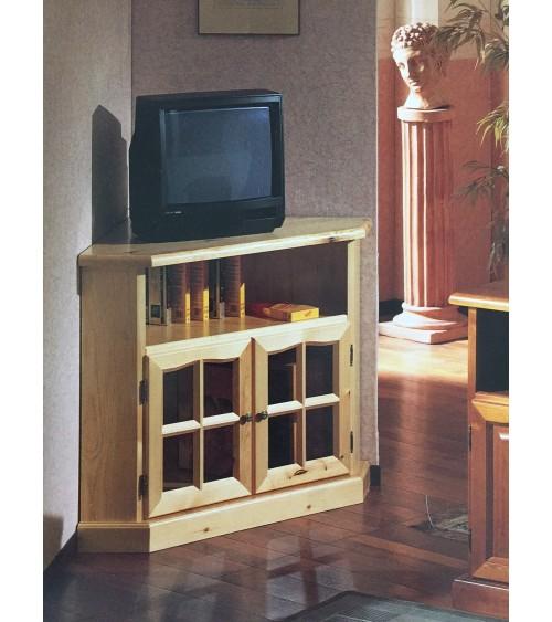 Porta TV ad angolo in pino massello verniciato tinta miele