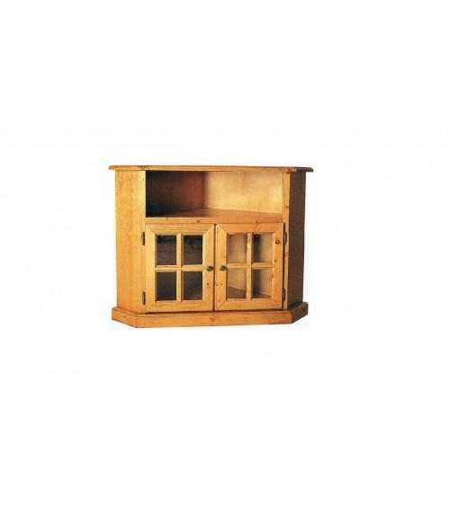 Porta TV ad angolo in pino massello verniciato tinta miele - PTVpinoMiele - 2 - Porta TV