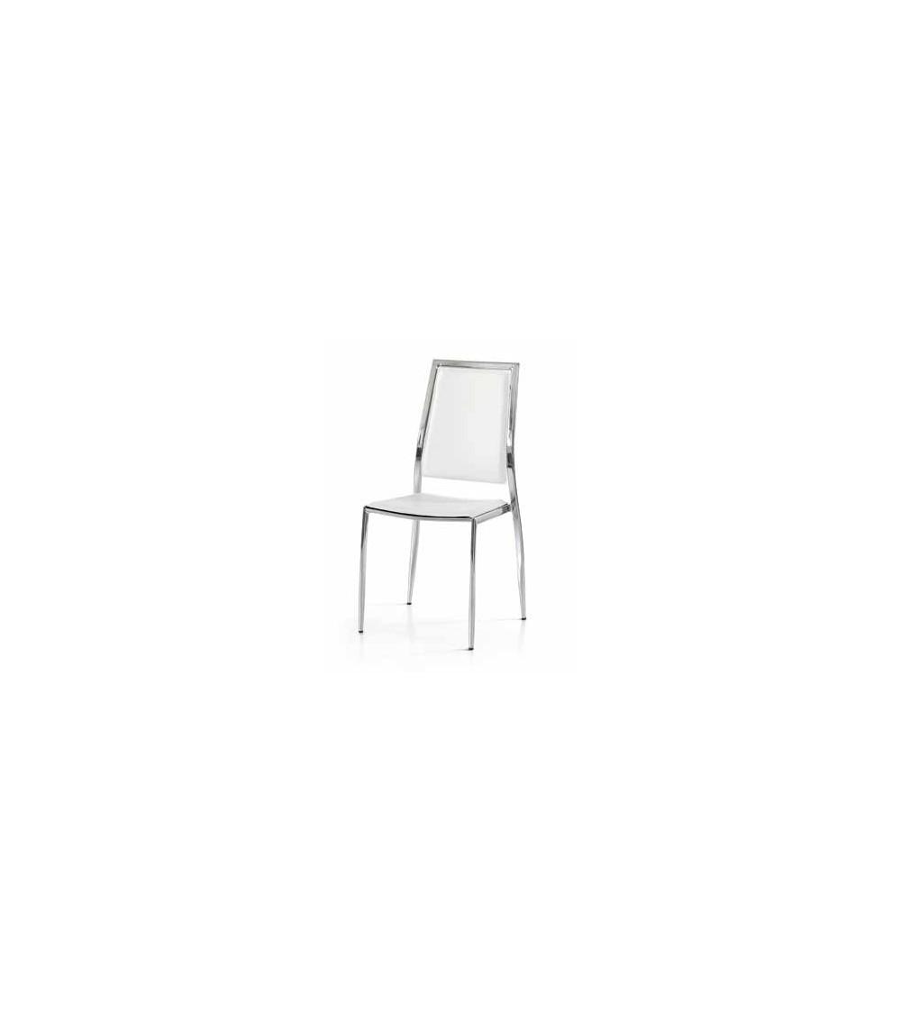 Sedie Moderne Pelle E Acciaio.Set Da 4 Sedie In Eco Pelle Bianca E Struttura In Acciaio Cromato