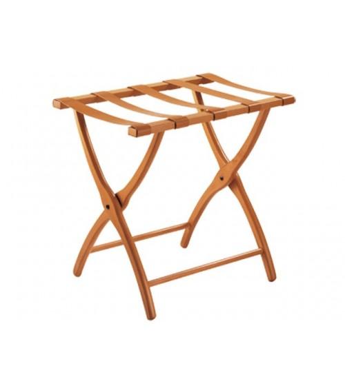 Porta valigie in legno massello faggio con cinghie in cuoio naturale