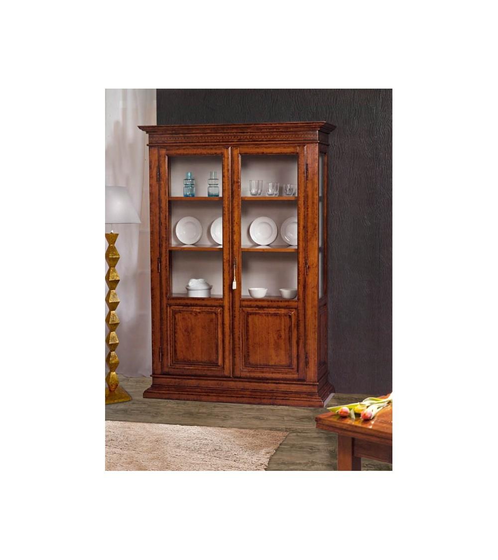 Vetrina classica intarsiata 2 porte finitura Bassano