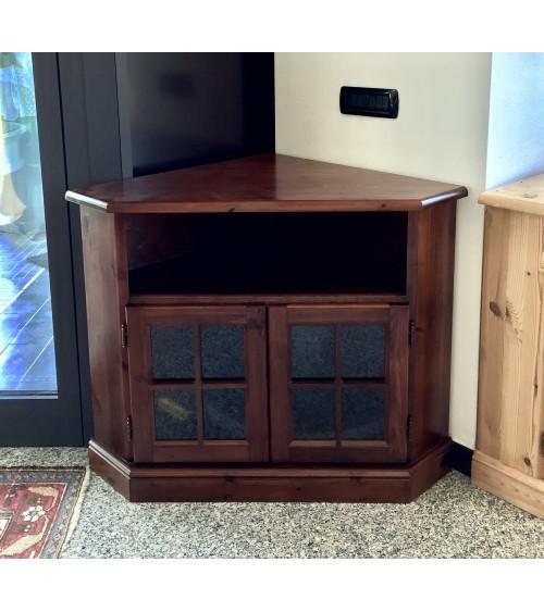 Porta TV ad angolo in pino massello verniciato tinta noce - PTVpinoNoce - 2 - Porta TV