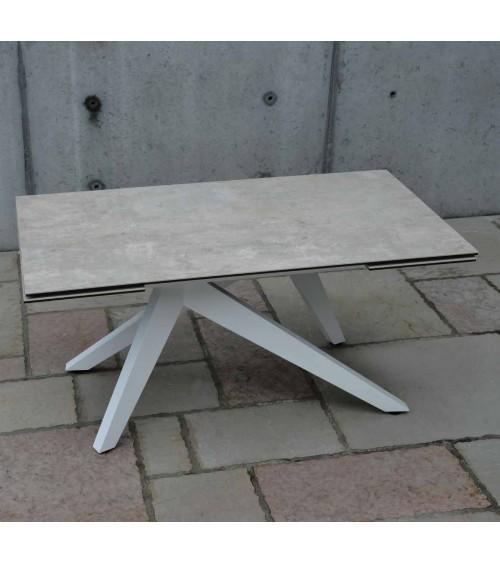 Tavolo ceramica finitura beton - 160x90 2 all. cm.40