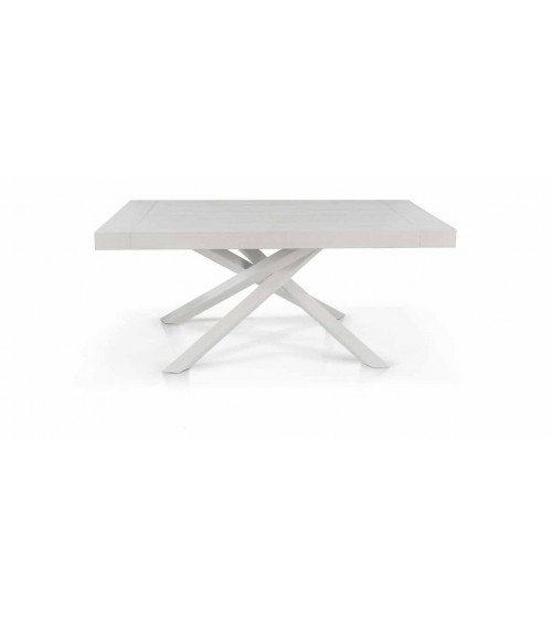 Tavolo nobilitato finitura bianco consumato ヨ 180x100 2 all. cm.50 - T1611 - 1 - Tavoli