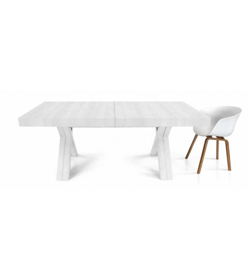 Tavolo nobilitato finitura bianco consumato ヨ 160x90 5 all. cm.50 - T1612 - 1 - Tavoli