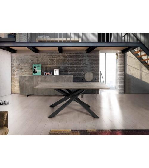 Tavolo rovere nodato finitura beton ヨ 250x100 sp.4 fisso - T1625 - 1 - Tavoli