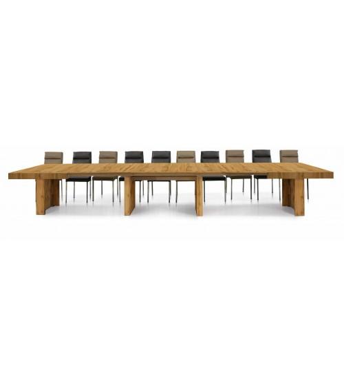 Tavolo nobilitato finitura rovere nodato ヨ 160x90 5 all. cm.50 - T1678 - 1 - Tavoli