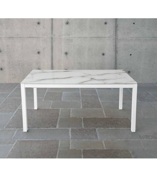 Tavolo vetro extra chiaro serigrafato pietra ヨ 160x90 2 all. cm.50 - T1687 - 1 - Tavoli