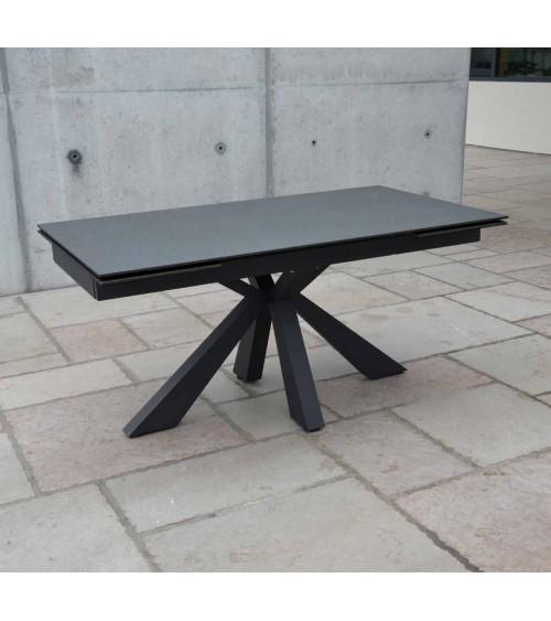 Tavolo ceramica finitura pietra nera 160x90 + 2 allunghe cm 40 - T2 - 1 - Tavoli