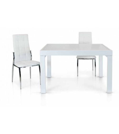 Tavolo vetro bianco ヨ 120x90 allungabile - T943 - 1 - Tavoli
