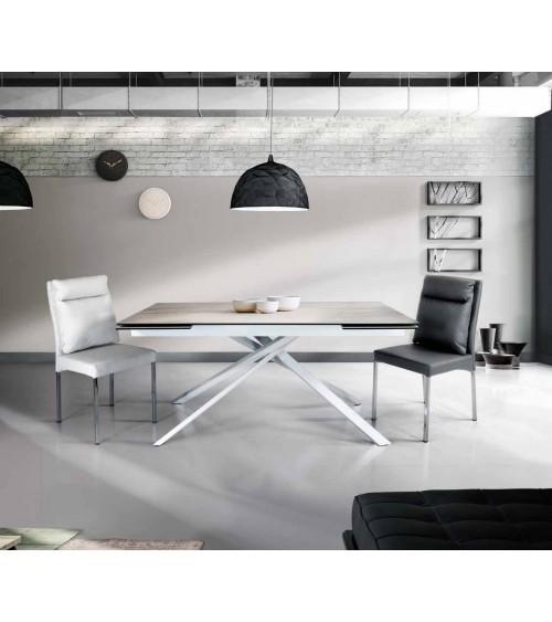 Tavolo ceramica finitura marmo bianco ヨ 160x90 2 all. cm.40 - T948 - 1 - Tavoli