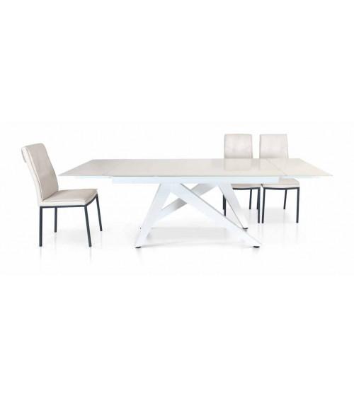 Tavolo vetro bianco ヨ 160x90 2 all. cm.40 - T949 - 1 - Tavoli