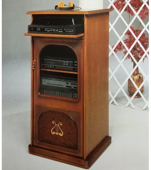 Colonna HiFi classica radica con intarsio arpa una porta - M202 - 1 - Porta TV