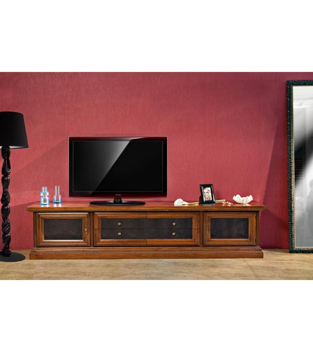 Base porta-TV classica spalla larga - porte c/pann. Pelle - AS15 - 1 - Porta TV