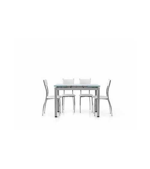 Tavolo allungabile con struttura in metallo grigio e piano in vetro bianco 110x70 - T607 - 1 - Tavoli