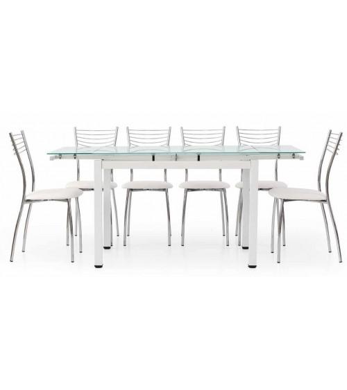 Tavolo allungabile con struttura in metallo bianco e piano in vetro bianco 110x70 - T608 - 1 - Tavoli